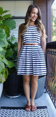 e6e56f8ded28 Jules in Flats July Outfits - Striped Fit and Flare Dress Teacher Outfits