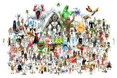 For the past six years, artist Alex Pardee has been revisiting his favorite monster movies. He'd watch them, sketch them, and watercolor them—and the result is this insane poster, featuring 185 different movie monsters all in one place. Alex Pardee, Horror Posters, Creepy Art, Iconic Movies, Cool Art, Artsy, Creatures, Art Prints, Painting
