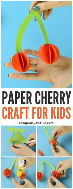 Paper Cherry Craft - Fruit Craft Idea - Easy Peasy and Fun Summer Crafts For Kids, Crafts For Kids To Make, Craft Activities For Kids, Preschool Crafts, Kids Crafts, Preschool Learning, Vegetable Crafts, Fruit Crafts, Spring
