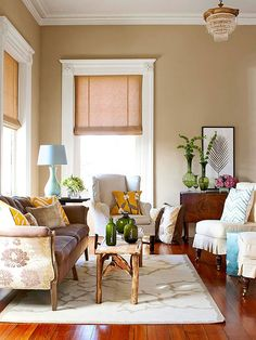 Neutral walls as a base is a great starting point for your personal flair! More living rooms here: http://www.bhg.com/rooms/living-room/makeovers/neutral-color/?socsrc=bhgpin071814neutralasabase&page=3