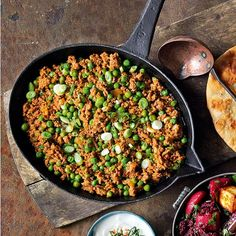 This quick lamb curry recipe is perfect with naan breads, mango chutney and mint raita.