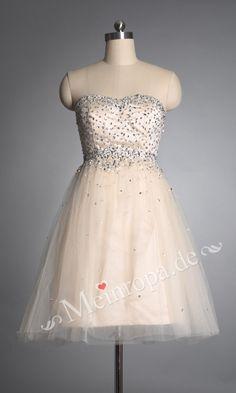 Herz-Ausschnitt mit glaezenden Pailletten Party Kleid knielang ASLY383