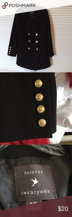 Forever Twenty one vintage black pea coat Black pea coat in EUC. Smoke/pet free home. Forever 21 Jackets & Coats Pea Coats