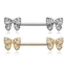 PAIR (2) Bow-Tie Ribbon Cubic Zirconia Nipple Ring Barbell 16mm Body Jewelry 14g