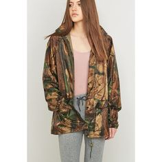 Urban Renewal Vintage Surplus Copper Tree Camo Anorak (£20) ❤ liked on Polyvore featuring outerwear, jackets, copper, camouflage jacket, vintage camo jacket, waterproof camo jacket, waterproof jacket and anorak jacket