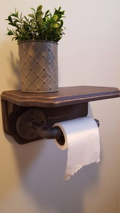 Rustic toilet paper holder with industrial pipe Modern