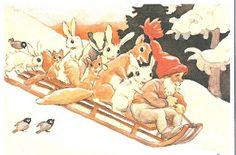 Joulutonttu vie metsänväkeä joulukesteihin by Rudolf Koivu (Finnish illustrator, 1890-1946)