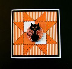 Ann Greenspan's Crafts: Square Halloween Quilted Star card