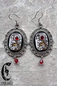 Steampunk Neo Victorian Silver Cameo Earrings with Antique Etched Stripes Watch Movement and Red Light Siam Aurore Boreal Swarovski Crystals