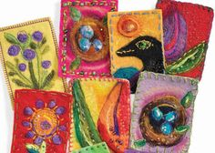 Fiber Effects: Colorful needle-felted artist trading cards by Kelli Perkins. Get the free eBook!