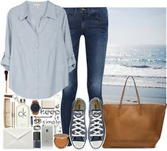 summer prep chic | blue button down | converse | brown carry all