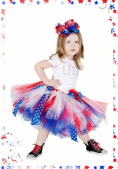 Posh & Patriotic USA Little Girls Tutu Skirt      Whether you need  are welcoming home our troops or just celebrating our freedom this Patriotic tutu is perfect!!! Great for 4th of July, Memorial Day or BBQ's. Your posh princess will rock any event!      Patriotic tutu is made with Red, White & Blue tulle. We added stars ribbons and fun red & blue stitch ribbons to make the tutu stand out! A big stars bow adorns the waist with red marabou.