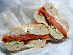 Lox and Bagels Remix: dollop of green onion cream cheese, lox, bacon, avocado and basil leaves.