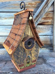Unique Barnwood Birdhouse Handmade Recycled Handmade Gift Copper Classic Wedding Gift - Wedding Home Decoration Classic Wedding Gifts, Small Ladder, Bird House Plans, Birdhouse Designs, Birdhouse Ideas, Copper Wedding, Bird Boxes, Forest House, Reclaimed Barn Wood
