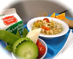 """Made from scratch Chicken Noodle Soup all schools today.  Served with a crunchy assortment of vegetables for a delightful """"finger salad"""", fresh orange smiles, a freshly baked whole grain breadstick and a carton of ice cold milk! Great meal for a frosty day!"""
