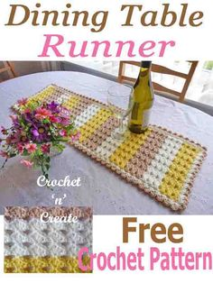 Decorate your dining table or sideboard with this pretty table runner, FREE crochet pattern. Crochet Table Topper, Crochet Table Runner, Table Runner Pattern, All Free Crochet, Crochet Home, Diy Crochet, Crochet Dollies, Crochet Placemat Patterns, Crochet Mandala Pattern