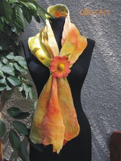 SUMMER MEMORIES  felted scarf with flower clasp by LanAArt on Etsy