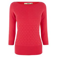This simple pink slash neck top from Oasis has a textured finished and is cut for a fitted shape.