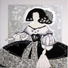 Cuadro oleo menina vestido blanco y negro