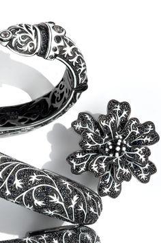 Secret Garden Collection  Signature M.C.L Design vines on Sterling Silver pieces hand-set with black sapphires.