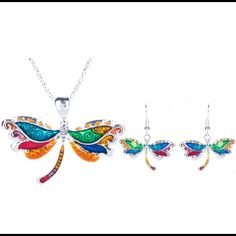 Colorful Dragonfly Necklace & Earrings Set