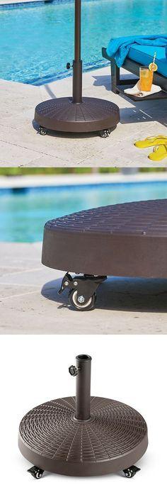 Umbrella Stands 180999: Outdoor Brown Wicker Look Umbrella Base Stand On  Wheels Pool Patio