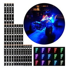 12pcs RGB MultiColor Flexible Strip Motorcycle 72 LED NEON Accent Lighting Kit ** Visit the affiliate link Amazon.com on image for more details.