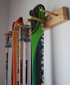 Snow Ski Storage Rack, Wall Mount, 2 Skis Storage Locker Ski Wall Mount 2 Skis by WillowHeights Kayak Storage Rack, Wall Storage, Garage Storage, Locker Storage, Sports Storage, Utensil Storage, Garage Organization Tips, Ski Rack, Cheap Storage