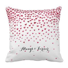 Watercolor Falling Hearts Forever pillow