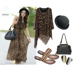 Daniela Ramirez/Street fashion/Anomalous Lower Hem Leopard Print Dress, created by ammy98 on Polyvore    romwe.com