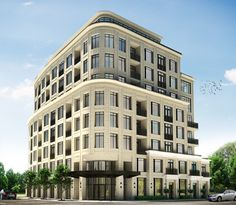 Builder's description: The 35 residences and 3 town-homes of 133 Hazelton, ready for occupancy December 2014, are close to boutiques, galleries and that romantic corner of a hotel bar but far enough away to give owners the ease of anonymity. Each residence is custom-designed according to strict internationally recognized standards no other builder in Canada offers. Building Structure, Building Facade, Building Exterior, Building Design, Building Elevation, Condominium Architecture, Hotel Design Architecture, Facade Architecture, New Classical Architecture