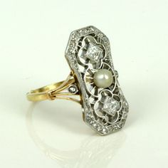 PLATINUM PEARL CARTIER | Buy Platinum and gold diamond and pearl ring, Art Deco rings & Art ...