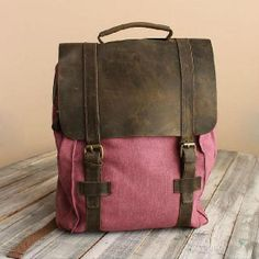 Rose Red Leather Canvas Backpack / IPAD Bag / Laptop di Love1220, $48.00