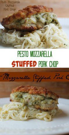 Pesto Mozzarella Stuffed Pork Chop