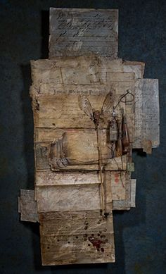Manuscript No. 4 by Ron Pippin - mixed media with beeswax :: So raw . Mixed Media Collage, Collage Art, Tea Bag Art, Found Object Art, Encaustic Art, Monochrom, Assemblage Art, Textile Art, Altered Art