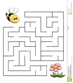 Game The Bee Reaches The Flower Stock Illustration - Illustration of play, smiling: 14228277 Mazes For Kids Printable, Fun Worksheets For Kids, Kindergarten Math Worksheets, Preschool Learning Activities, Kids Learning, Preschool Writing, Maze Worksheet, Maze Puzzles, Kids Education