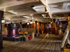 Below decks on HMS Victory. Capstan on the left.
