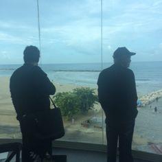 Rabbi Cahn and Jim Bakker look out at Israel after we land.
