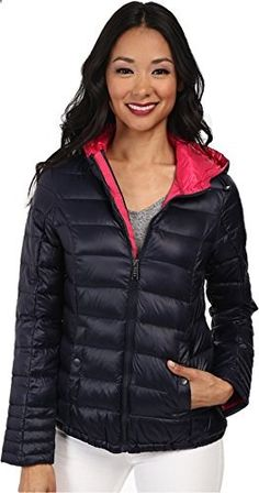 DKNY Women's Hooded Packable Down Jacket Midnight/Primrose Outerwear SM 4-6  Go to the website to read more description.