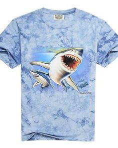 Blue tie dye t shirt 3D shark short sleeve t shirts for men 3XL