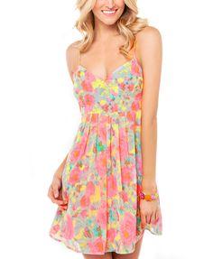 Flower Print Pink Cami Dress
