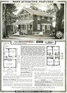 Sears Auburn House ~ Includes plans and materials ~ 4 Bedrooms, 1 bath, Reception Hall, Dining Porch, Sleeping Porch and really cool stairs. Square House Plans, Small House Plans, House Floor Plans, The Sims, Sears Catalog Homes, Four Square Homes, Architecture Design, Vintage Architecture, Residential Architecture