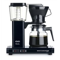 Moccamaster KB741 AO Black: Brews 10 cups in 6 minutes. Auto shut-off feature turns off the machine. A security feature that we highly recommend. Manual drip stop. Dual heating elements allows optimal temperature for both brewing and for the hotplate. Measurements W-D H (mm): 325 x 170 x 355