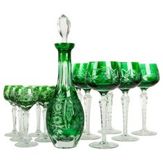 Rare Antique Baccarat Crystal Decanter Set | From a unique collection of antique and modern crystal serveware at https://www.1stdibs.com/furniture/dining-entertaining/crystal-serveware/