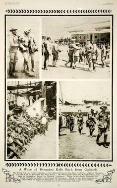 """A Wave of Wounded Rolls Back from Gallipoli"" This is an original 1915 duotone rotogravure with images of wounded British soldiers from the Gallipoli Campaign of World War I. The Gallipoli Campaign wa"