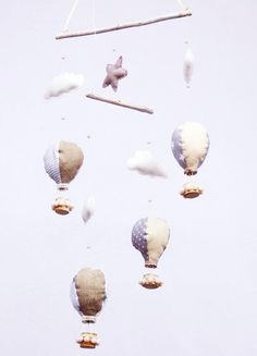 Hot Air Balloon Mobile New Baby Gift Baby Shower Gift by KatDeco