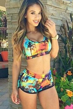 Fashion coconut trees printing two-piece bikini