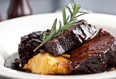 Slow-roasted beef cheeks with soft polenta and port jus recipe - Nine Kitchen Meat Recipes, Slow Cooker Recipes, Cooking Recipes, Polenta Recipes, Cooking Time, Paleo Recipes, Dinner Recipes, Slow Cooked Beef Cheeks, Tacos