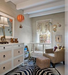 Chic Nursery by Jennifer Eisenstadt with hot air balloons and globes