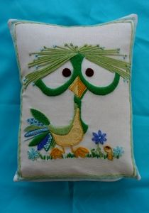 Crewel Dodo Bird Pillow